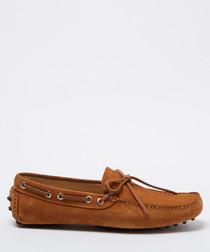 Salazar tan brown suede loafers