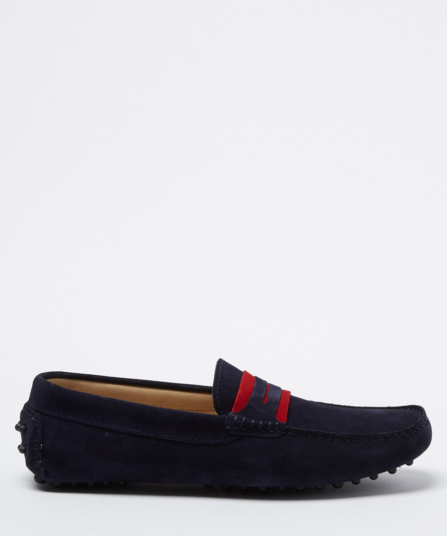 Carpio navy & red suede casual loafers Sale - moka saint