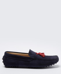 Velazques navy & red suede loafers