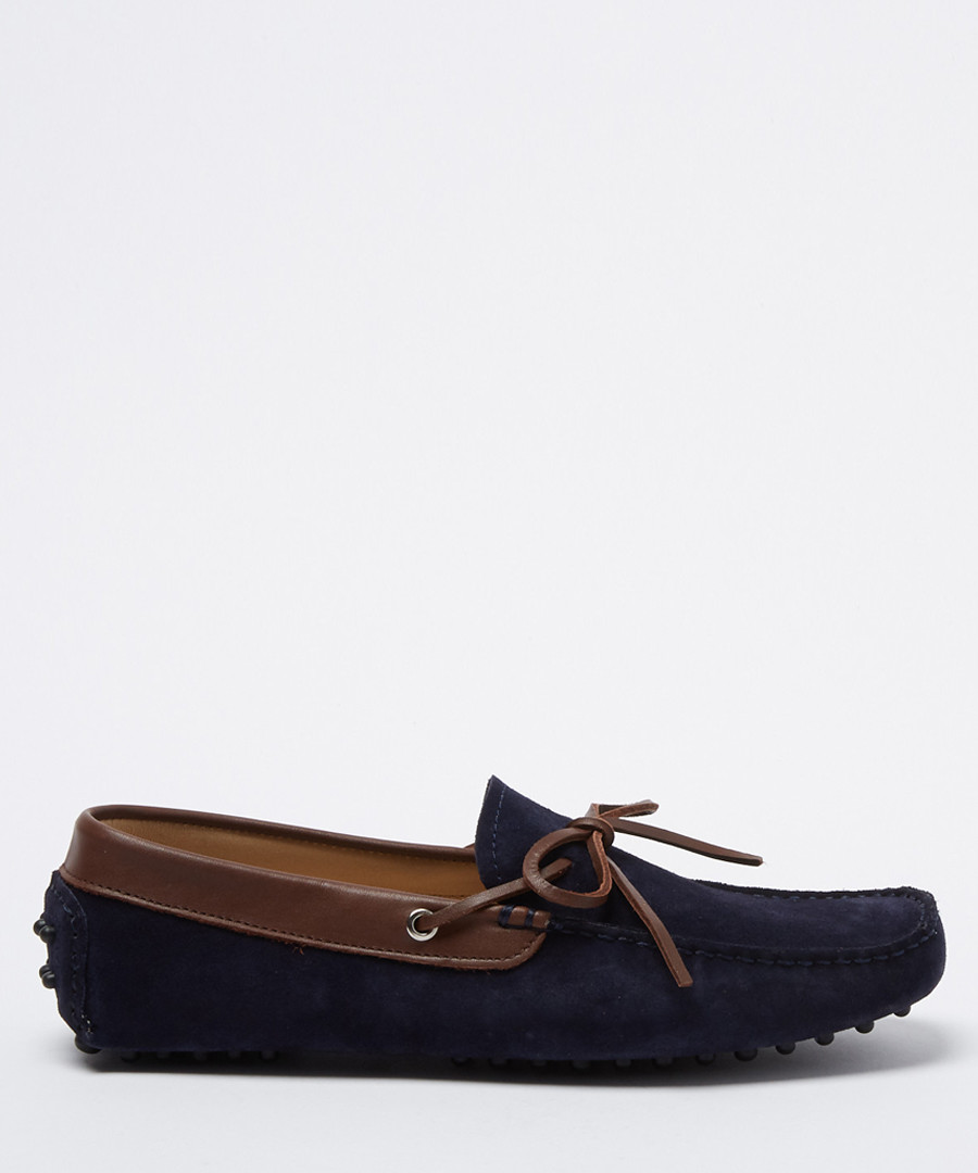 Moccasins navy & brown suede loafers Sale - moka saint