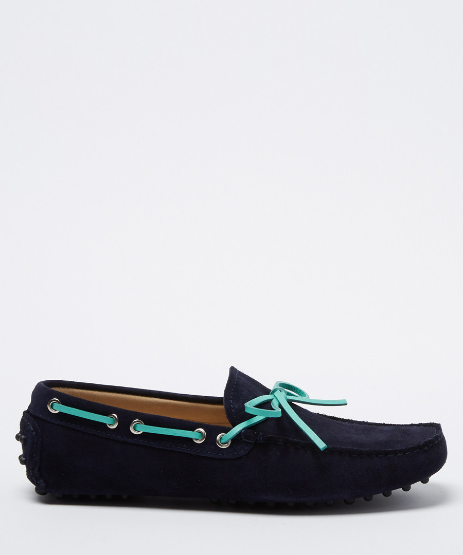 Salazar navy & aqua suede loafers Sale - moka saint