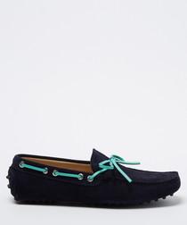 Salazar navy & aqua suede loafers