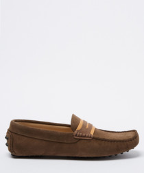 Carpio taupe suede loafers