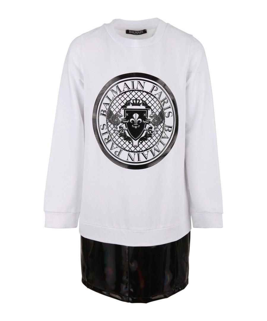 White pure cotton logo dress Sale - balmain kids