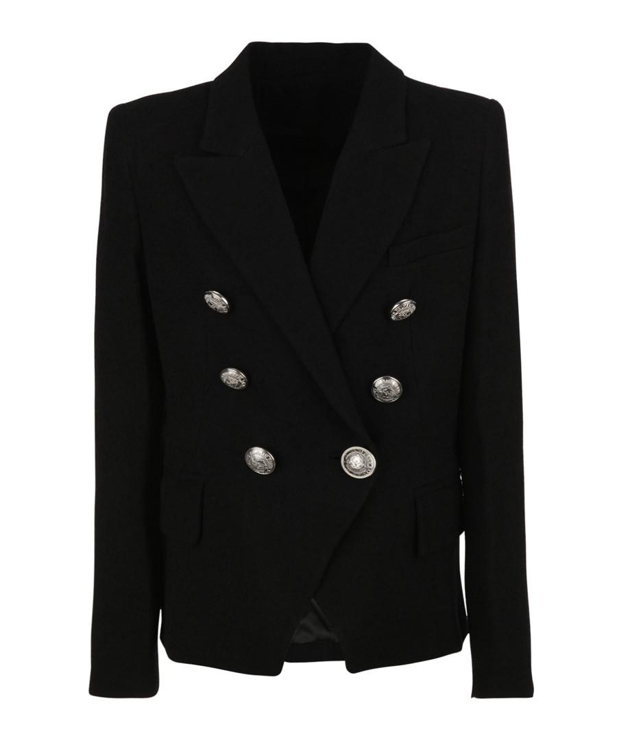 Black cotton blend button blazer Sale - balmain kids