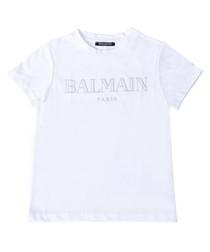 White pure cotton logo T-shirt