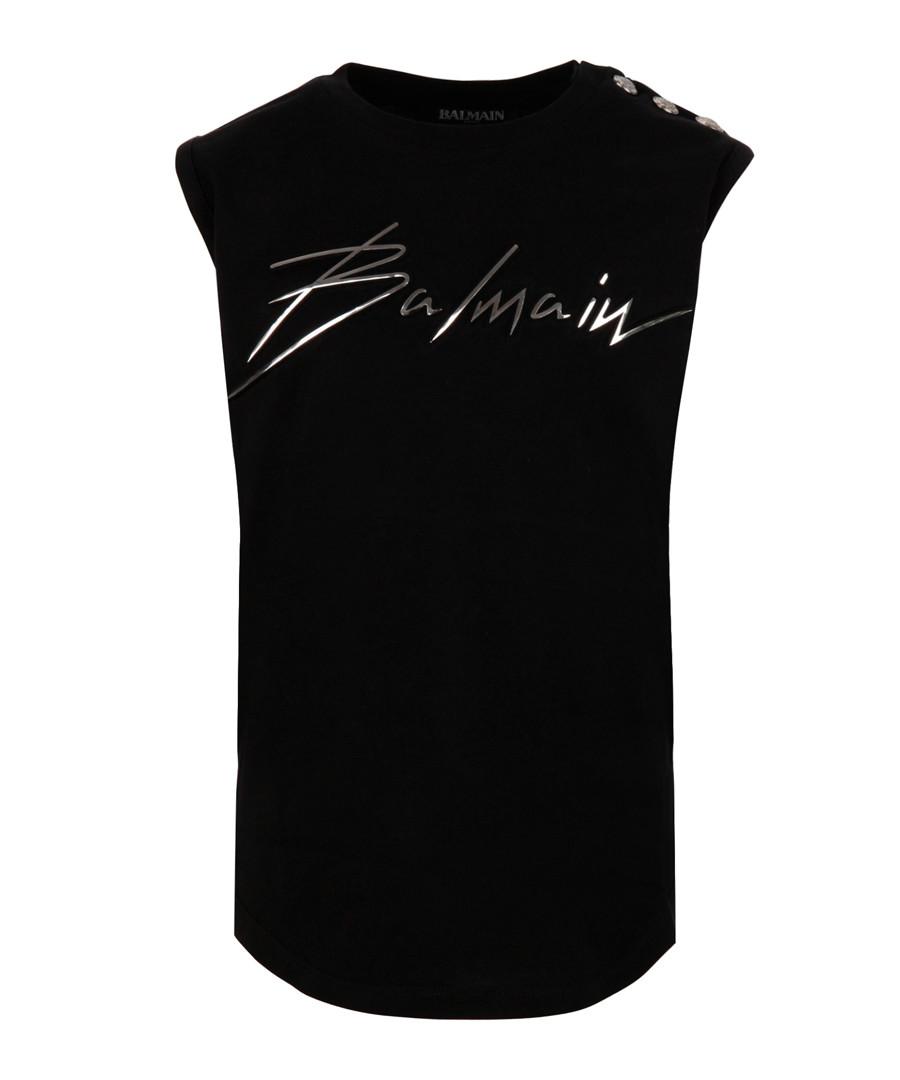 Black pure cotton logo vest Sale - balmain kids