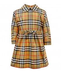 Multi-colour pure cotton check dress
