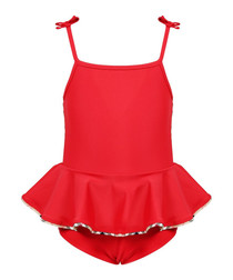 Red frill bow strap swimsuit