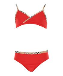 2pc Red check trim bikini set