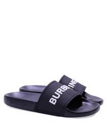 Black casual logo slip-ons