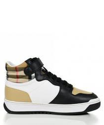 Multi-colour leather check sneakers