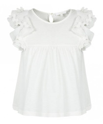 White pure cotton frill sleeve shirt