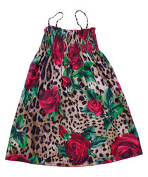 Multi-colour rose & leopard print dress