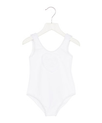 White broderie anglaise logo swimsuit