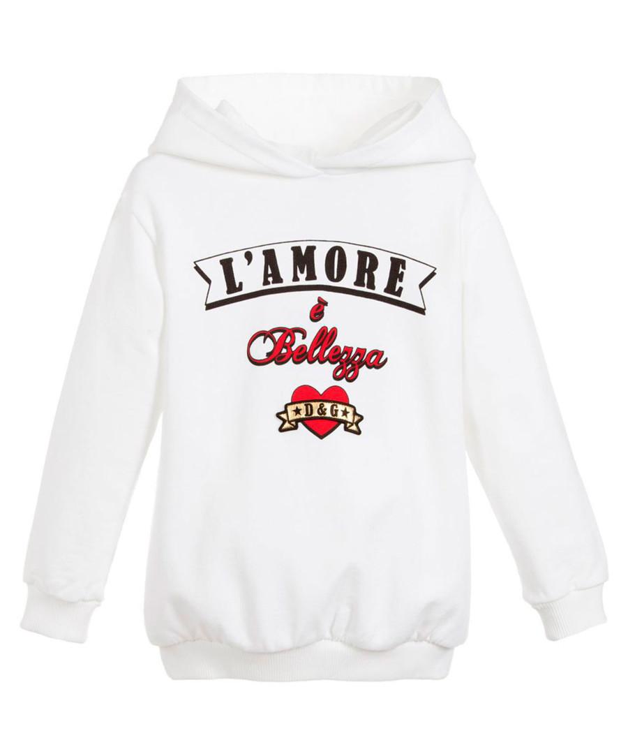 White pure cotton print hoodie Sale - dolce & gabbana