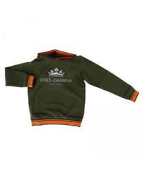 Verde pure cotton logo hoodie