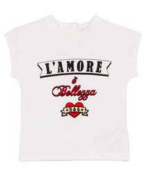 White pure cotton print T-shirt