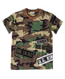 Multi-colour pure cotton camo T-shirt