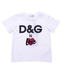 White pure cotton logo print T-shirt