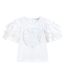 White pure cotton ruffle sleeve top