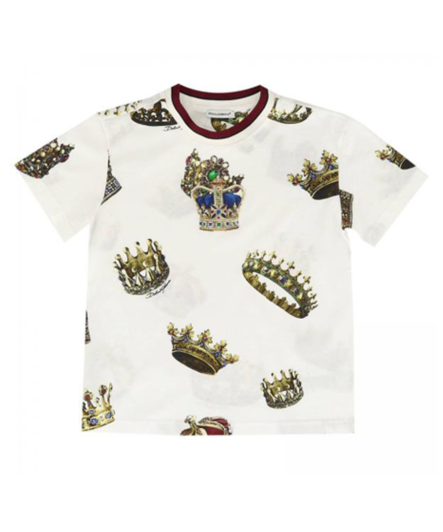 White pure cotton crown print T-shirt Sale - dolce & gabbana