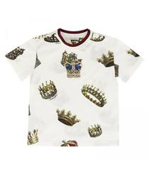 White pure cotton crown print T-shirt