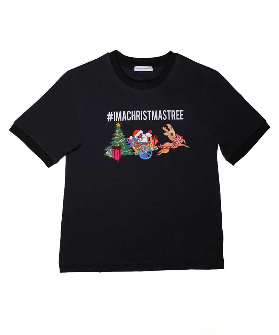 Black pure cotton Christmas T-shirt Sale - dolce & gabbana