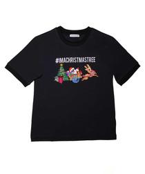 Black pure cotton Christmas T-shirt