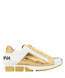 White & gold-tone logo sneakers
