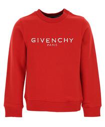 Red pure cotton logo sweatshirt