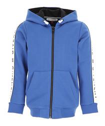 Blue pure cotton logo hoodie