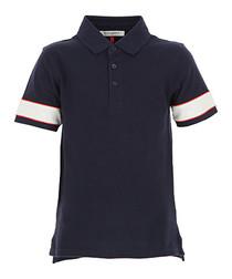 Blue pure cotton polo shirt