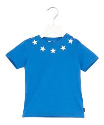 Blue pure cotton star T-shirt