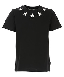 Black pure cotton star T-shirt