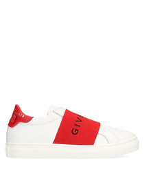 White & red leather logo sneakers