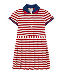 Multi-colour cotton blend stripe dress