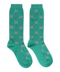 Green cotton blend logo print socks