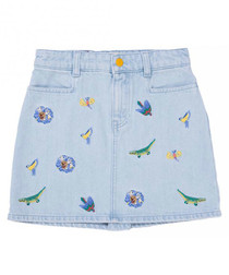 Light blue pure cotton mini skirt
