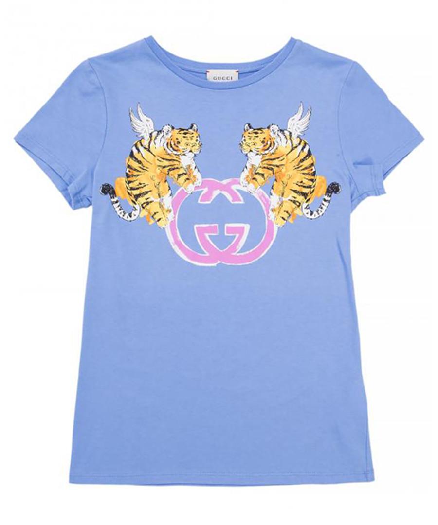 Light blue pure cotton logo T-shirt Sale - gucci