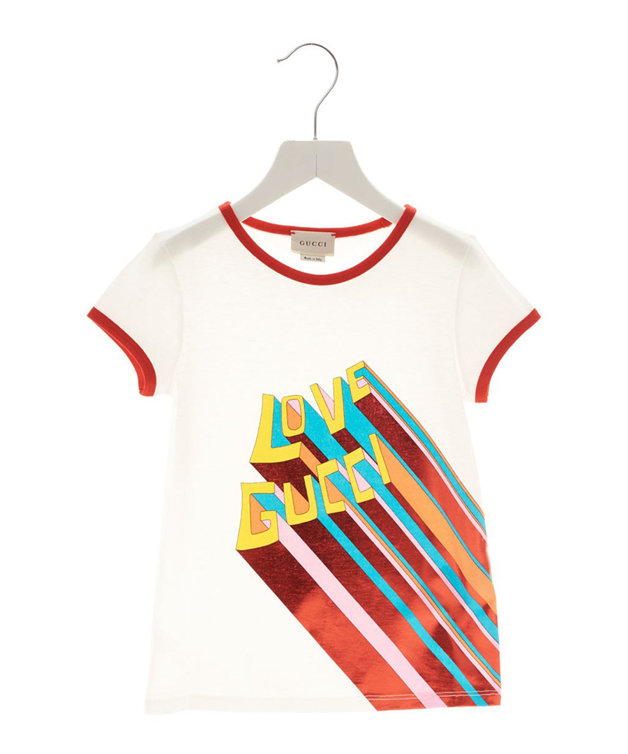 White pure cotton print T-shirt Sale - gucci