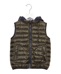 Green retractable hood vest jacket