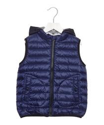 Blue retractable hood vest jacket