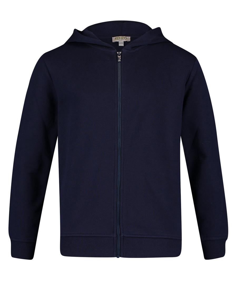 Blue pure cotton zip-up hoodie Sale - kenzo kids