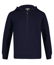 Blue pure cotton zip-up hoodie