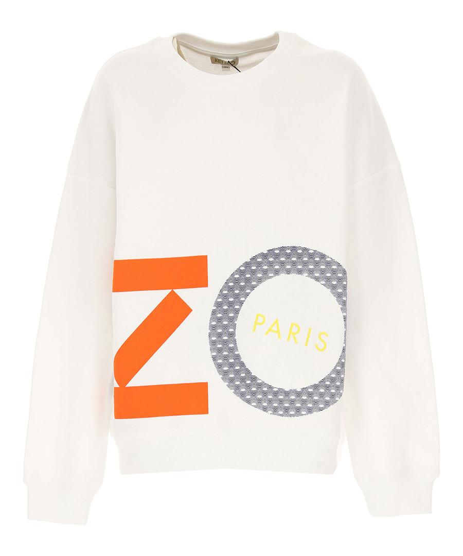White pure cotton print sweatshirt Sale - kenzo kids
