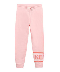 Pink pure cotton tracksuit bottoms