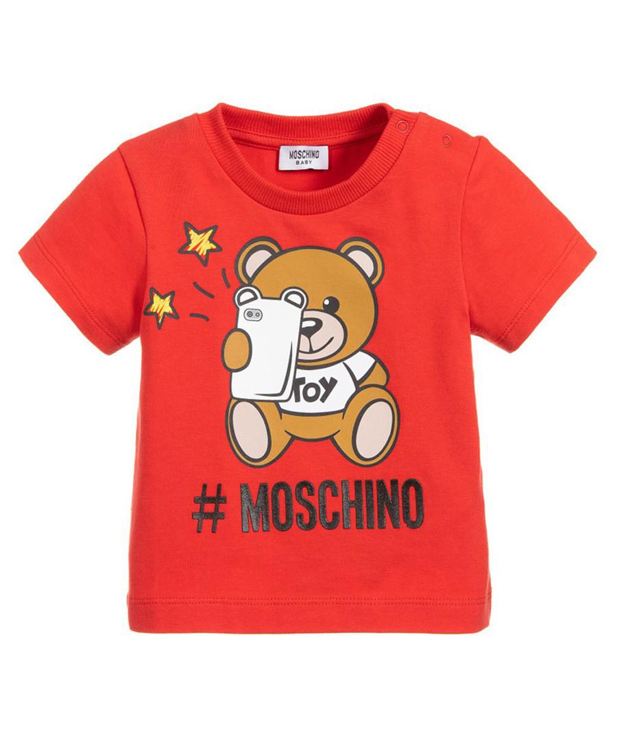 Red bear logo print T-shirt Sale - moschino baby