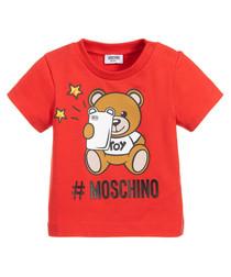 Red bear logo print T-shirt