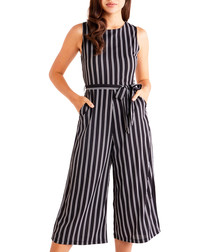 Black stripe culotte jumpsuit